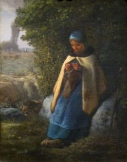 The Shepherdess Seated on a Rock (The Knitter) | Jean Francois Millet | Oil Painting