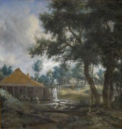 Water Mill with Smoking Chimney | Meindert Hobbema | Oil Painting