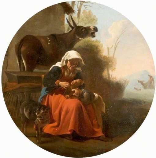 A Woman and a Child with Animals | Carel Dujardin | Oil Painting