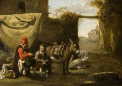 Two Figures with a Donkey and Sheep | Carel Dujardin | Oil Painting