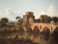 River Scene with a Bridge and a Boat and Fishermen in the Foreground | Cornelis Gerritsz. Decker | Oil Painting