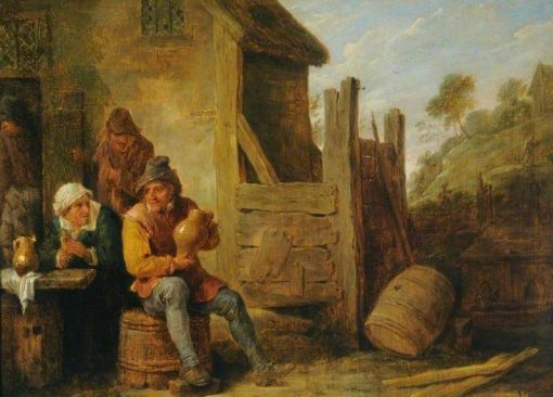 Exterior of an Inn: Peasants Drinking   David Teniers II   Oil Painting