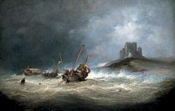 Fishing Boats in Rough Weather off St Michael's Mount