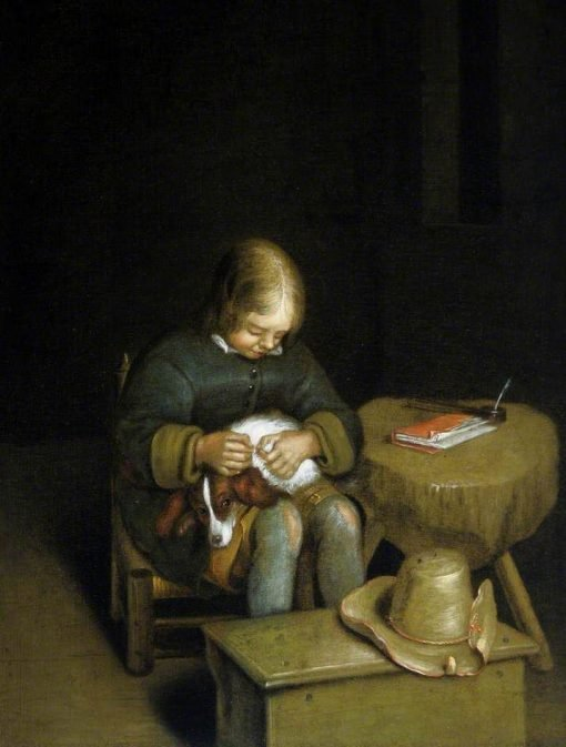 Boy and a Dog | Gerard ter Borch | Oil Painting