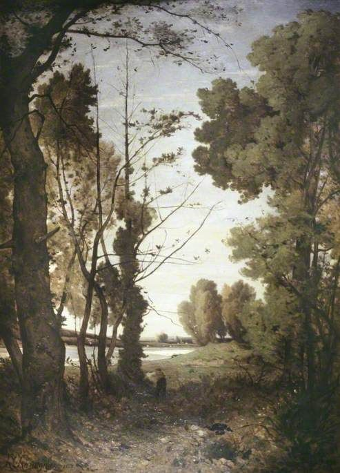 Duck Shooting on the Banks of the River Allier   Henri Joseph Harpignies   Oil Painting