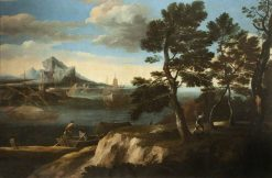 River Landscape with Figures in a Boat | Jacob de Heusch | Oil Painting