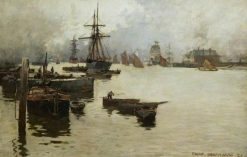 The Lower Reaches of the Thames | Sir Frank William Brangwyn | Oil Painting