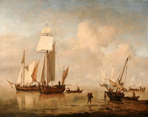 A Calm Sea with Two Fishing Boats and a Third Beached | Willem van de Velde the Younger | Oil Painting