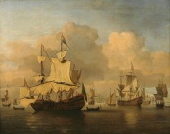 Dutch Men 'O War in a Calm Sea with Numerous Other Ships | Willem van de Velde the Younger | Oil Painting