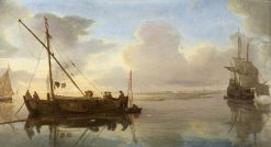 River Scene with Boats | Willem van de Velde the Younger | Oil Painting