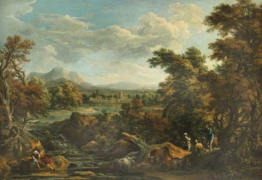 Wooded River Scene with Peasants | Marco Ricci | Oil Painting