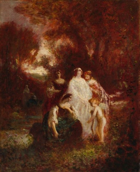 Figures in the Woods | Adolphe Joseph Thomas Monticelli | Oil Painting