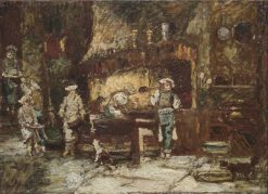 The Kitchen of the Rôtisserie des Deux Paons | Adolphe Joseph Thomas Monticelli | Oil Painting