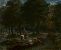 Greek Cavalry Men Resting in Forest | Eugene Delacroix | Oil Painting