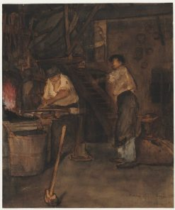 Study for The Blacksmith's Shop: Remembrance of Le Tréfort | Francois Bonvin | Oil Painting