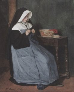 A Nun Seated at a Table Knitting | Francois Bonvin | Oil Painting