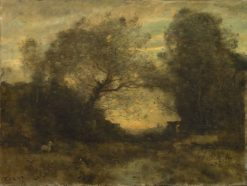 The Pond at the Entrance to the Woods | Jean Baptiste Camille Corot | Oil Painting