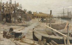 The Boatyard | Jean Charles Cazin | Oil Painting