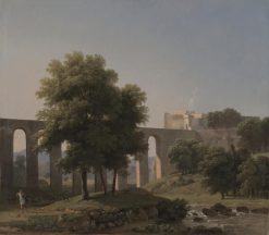 An Aqueduct Near a Fortress | Jean Victor Bertin | Oil Painting