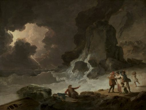 A Storm Behind the Isle of Wight   Julius Caesar Ibbetson   Oil Painting