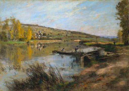 River Marne at Chartere | LEon Augustin Lhermitte | Oil Painting