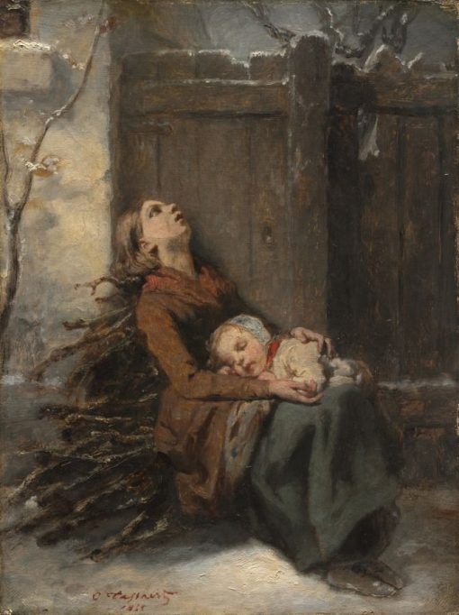 Destitute Dead Mother holding her sleeping Child in Winter | Octave Tassaert | Oil Painting