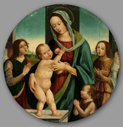 Virgin and Child with John the Baptist and Angels | Pietro Donzello | Oil Painting