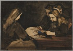 Four Girls Studying a Drawing   ThEodule Augustin Ribot   Oil Painting