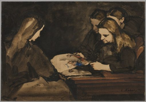 Four Girls Studying a Drawing | ThEodule Augustin Ribot | Oil Painting