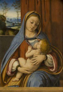 Virgin Nursing the Christ Child (Virgo Lactans) | Andrea Solario | Oil Painting
