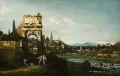 Capriccio with a Roman Arch | Bernardo Bellotto | Oil Painting