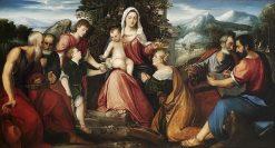 Sacra Conversazione with Tobias and the Angel   Bonifazio Veronese   Oil Painting