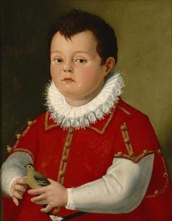 Portrait of a Little Boy in Red Holding a Goldfinch | Santi di Tito | Oil Painting