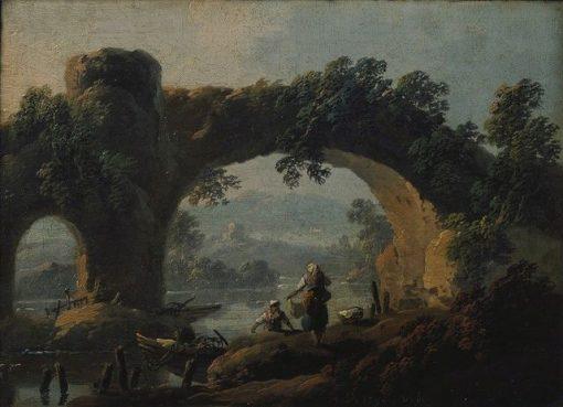 Landscape with Rustic Figures   Jean Pillement   Oil Painting
