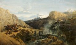 Splugen Pass with Travellers Attacked by Bandits | William James Muller | Oil Painting