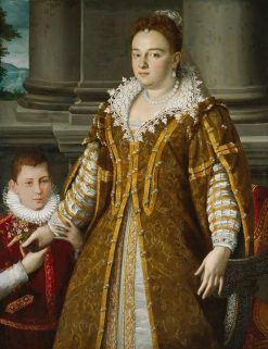 Portrait of Grand Duchess Bianca Capello de Medici with Her Son | Alessandro Allori | Oil Painting