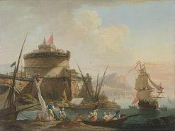 Vue d'un Port (Harbor Scene at Sunset) | Charles Francois Grenier de Lacroix | Oil Painting