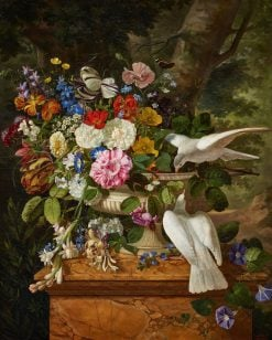Flowers in a Vase with Two Doves | Francois Lepage | Oil Painting