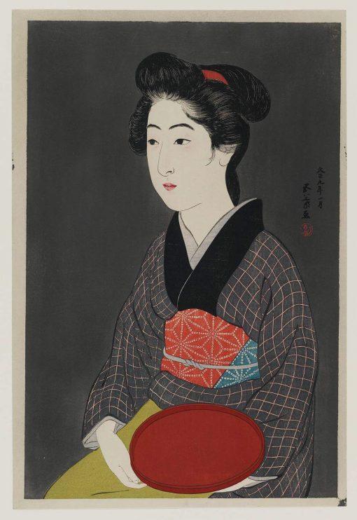 Woman Holding a Tray | Goyo? Hashiguchi | Oil Painting