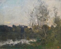 A Lake in the Woods at Dusk | Charles Francois Daubigny | Oil Painting