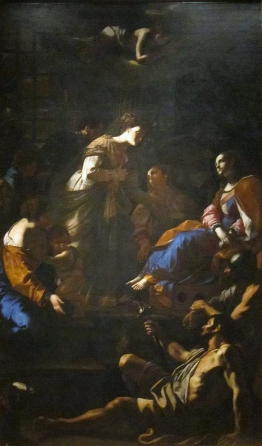 The Roman Empress Faustina Visiting Saint Catherine of Alexandria in Prison | Mattia Preti | Oil Painting