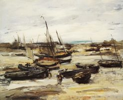 Fishing Boats in Dieppe Harbour | Antoine Vollon | Oil Painting