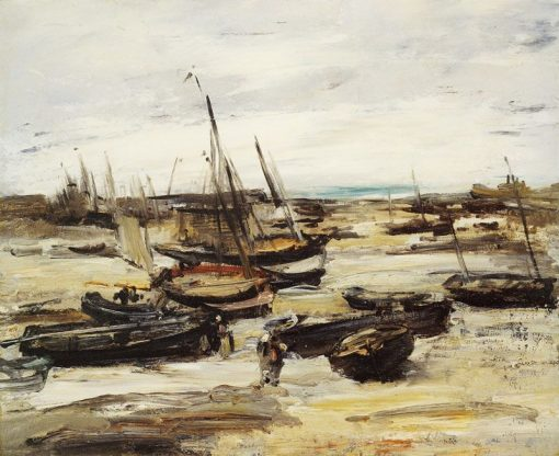 Fishing Boats in Dieppe Harbour   Antoine Vollon   Oil Painting