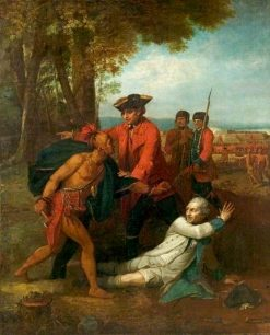 General Johnson Saving a Wounded French Officer from a North American Indian | Benjamin West | Oil Painting