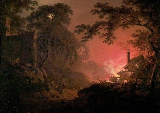 Cottage on Fire | Joseph Wright of Derby | Oil Painting