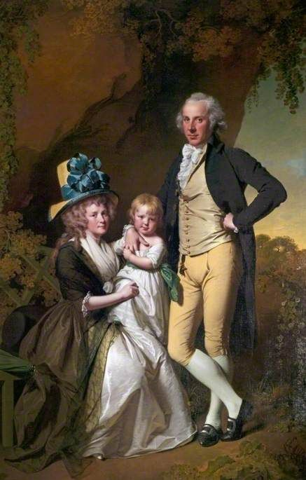 Richard Arkwright Junior and His wife Mary and Daughter Anne | Joseph Wright of Derby | Oil Painting