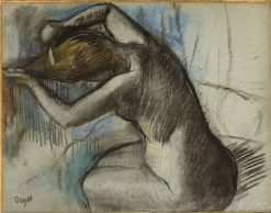 Seated Nude Woman Brushing her Hair | Edgar Degas | Oil Painting