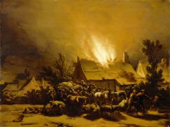 Peasants Fleeing a Burning Barn | Egbert van der Poel | Oil Painting