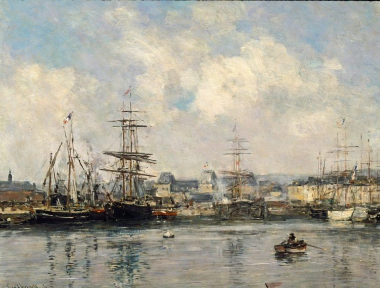 Casimir Delavigne Basin at Le Havre | Eugene Louis Boudin | Oil Painting