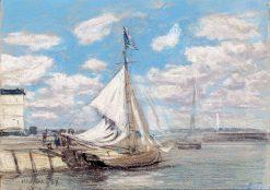 Fishing Boat in Honfleur Harbor | Eugene Louis Boudin | Oil Painting